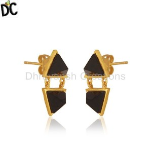 Handmade Gold Plated Brass Fashion Black Onyx Gemstone Girls Earrings
