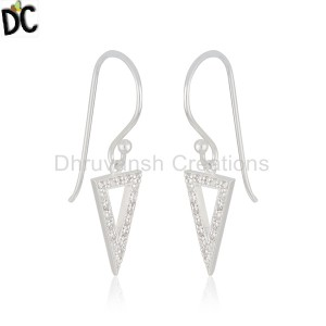 White Silver Earrings Wholesale in India