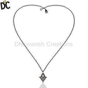 FINE BLACK Plated Fashion Pendant And Necklace Wholesale from India