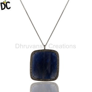 Blue Sapphire & Pave Diamond Handmade 925 Silver Gold Pendant Supplier