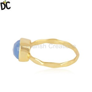 Hand Hammered Gold Plated Brass Fashion Gemstone Ring Manufacturer