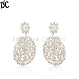 White Silver Earrings Supplier in Jaipur