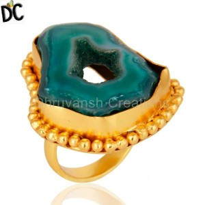 Natural Druzy Slice Yellow Gold Vermeil Handcrafted Brass Ring