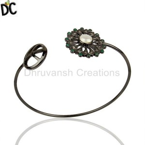 925 Silver Pearl Gemstone Pave Diamond Cuff Bangle Wholesale Jewelry