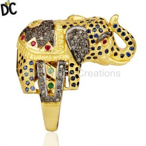 18K Gold Over Silver Emerald, Ruby And Sapphire Pave Diamond Elephant Ring