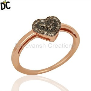 925 Silver rose Gold Plated Ring Manufacturers