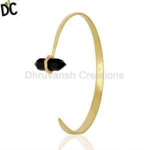 Black Onyx Pencil Openable Wide14K Gold Plated Sterling Silver Cuff Jewelry
