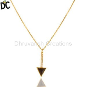 Smoky Topaz Triangle Cut 14 K Gold Plated 92.5 Sterling Silver Chain Pendent