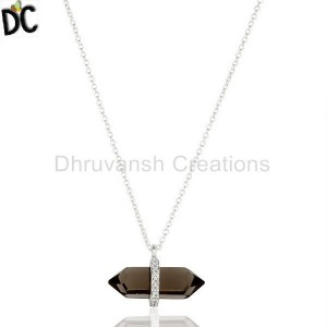 Smoky Topaz Terminated Pencil Cz Studded 92.5 Sterling Silver Pendent