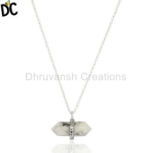 Howlite Terminated Pencil Cz Studded 92.5 Sterling Silver Pendent