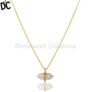 Howlite Terminated Pencil Cz Studded 14K Gold Plated Silver Pendent