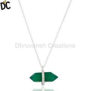 Green Onyx Terminated Pencil Cz Studded 92.5 Sterling Silver Pendent