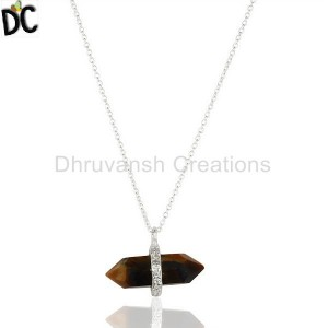 Tigereye Terminated Pencil Cz Studded 92.5 Sterling Silver Pendent
