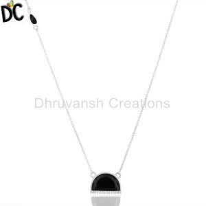 Black Onyx Half Moon Cz Studded 92.5 Sterling Silver Wholesale Pendent