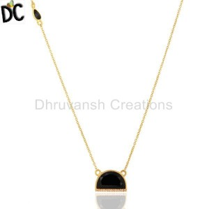Black Onyx Half Moon Cz Studded 14K Gold Plated Sterling Silver Pendent