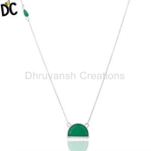 Green Onyx Half Moon Cz Studded 92.5 Sterling Silver Wholesale Pendent