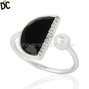 Black Onyx Half Moon Ring Cz Studded92.5 Sterling Silver Wholesale R