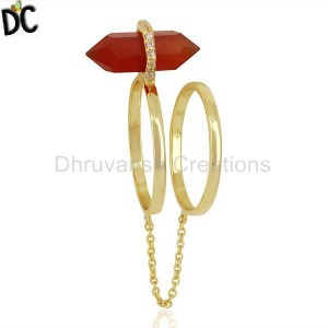 Red Onyx And White Cz Studded Two Finger Ring Gold Plated Silver Jewelry