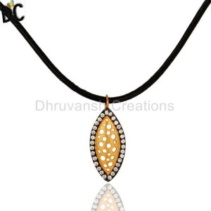 925 Sterling Silver With Yellow Gold Plated Cubic Zirconia Fashion Pendant