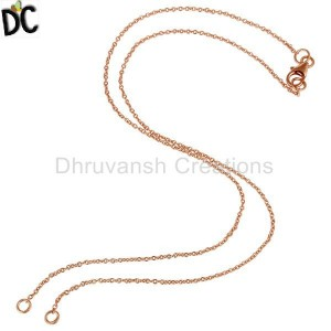 22K Rose Gold Plated Sterling Silver Link Chain Necklace With Lobster Lock