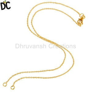 24K Yellow Gold Plated Sterling Silver Link Chain Necklace With Lobster Lock