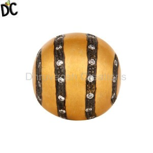 Gold Plated 925 Sterling Silver White Zircon Studded Round Bead Finding Jewelry