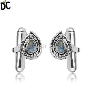 Rainbow Moonstone Gemstone Oxidized 925 Silver Designer Cufflinks