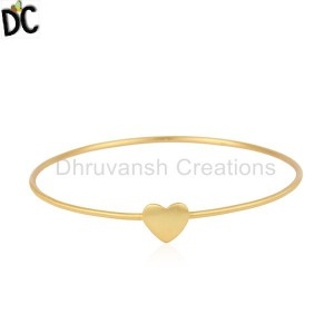 18K Yellow Plated Sterling Silver Heart Sign Simple Stacking Bangle Bracelet