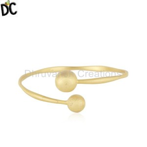 18K Yellow Gold Plated Sterling Silver Matte Finish Adjustable Bangle