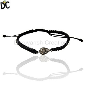 Natural Diamond Drop Shape Macrame Adjustable Bracelet