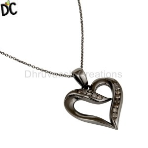 Heart Deisgn Sterling Silver Pendant Necklace With Black Oxidized and Diamond