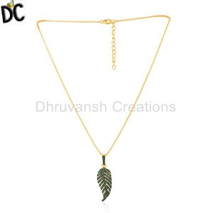 Pave Set Tsavorite Gemstone Gold Plated Silver Chain Pendant Jewelry