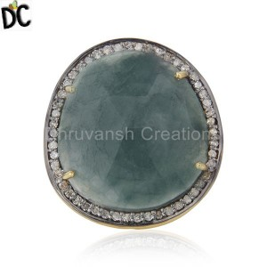 Natural Emerald Gemstone and Pave Diamond Silver Statement Ring Wholesale