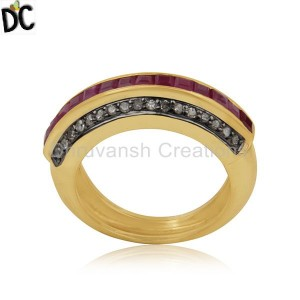 925 SIlver Gold Plated Natural Ruby Pave Set Diamond Ring Jewelry