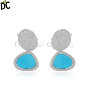 Handmade Brushed Finish 925 Sterling Silver Enamel Design Earrings