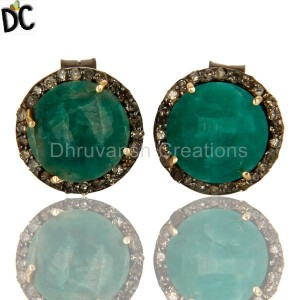 Round Emerald Gemstone Diamond Set Silver Stud Earrings Jewelry