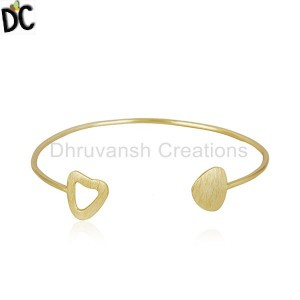 Gold Plated 925 Sterling Silver Texture Designer Cuff Bangle Jewelry