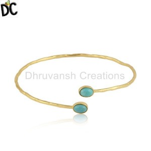 Arizona Turquoise Gemstone 18k Gold Plated 925 Silver Bangles