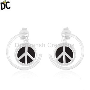 Peace Sign Sterling Fine Silver Black Onyx Gemstone Earrings Manufacturer India