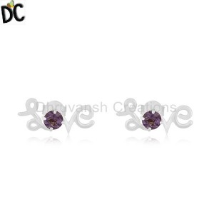 Amethyst Gemstone Love Initial Sterling 92.5 Silver Custom Stud Earring Jewelry