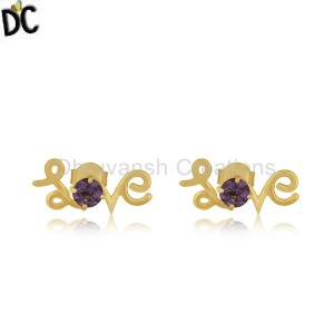 Amethyst Gemstone 925 Silver Gold Plated Initial Love Valentine Stud Earrings
