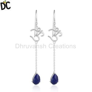 Natural Lapis Lazuli OM Design Sterling Silver Dangle Earrings Jewelry