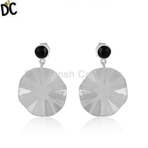 Sterling Fine Silver Black Onyx Gemstone Wavy Disc Earrings Jewelry