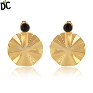 Wavy Disc Design Gold Plated 925 Silver Black Onyx Gemstone Earrings