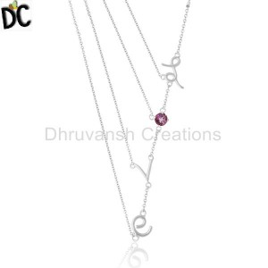 Natural Amethyst Gemstone Love Letter 925 Silver Chain Necklace Wholesale