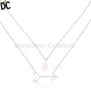 295 Sterling Silver Rainbow Moonstone Arrow Chain Pendant Manufacturers