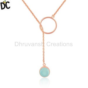 Aqua Chalcedony Rose Gold Plated 925 Silver Ring Chain Link Necklace