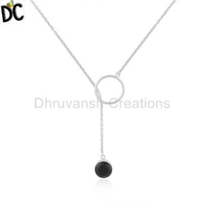 Black Onyx Gemstone 925 Sterling Silver Chain Necklace Manufacturer