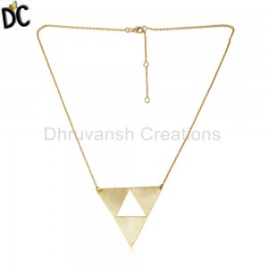 Triangle Designer Yellow Gold Plated Plain Silver Chain Necklaces