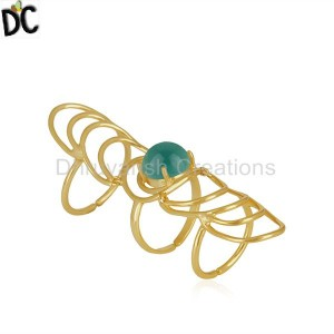 Green Onyx Gemstone Gold Plated 925 Silver Knuckle Ring Manufacturer